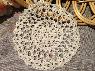 Chic Beige Cotton  Floral Pattern Hand Crochet Lace Doily Round