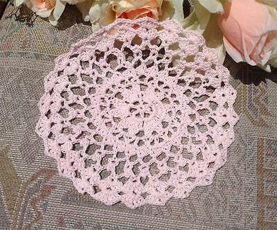 Chic Pink Cotton Floral Pattern Hand Crochet Lace Doily Round 18cm