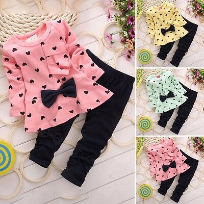 Baby Girls Kid Princess T-shirt Tops +Long Pants 2Pcs Outfit Clothing Set Suits
