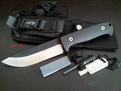 "Elk Ridge Bushcraft 10.5"" Fixed Blade Knife+Fire Rod+Sharpener+Sheath ER-555BK"