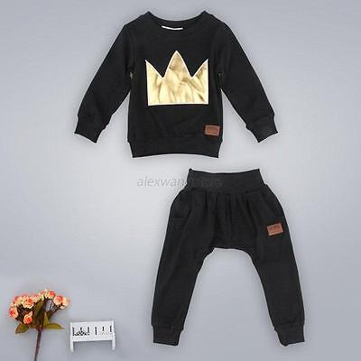 Toddler Baby Boys Girls Clothes Black T-shirt Tops + Pants Kids Outfits 2PCS