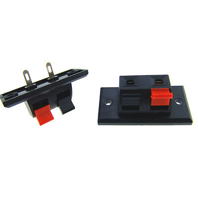 10pcs Single Row 1 Red 1 Black 2 Position Push Type Speaker Terminal s718