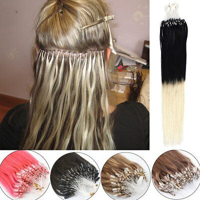 100 Ombre EXTENSIONS A FROID EASY LOOP CHEVEUX 100% NATURELS LOOPS REMY 40-65cm