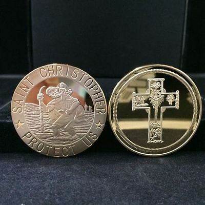"""2 x ST Christopher Coin Medallions, Gold Plated,""""Christian Travellers Good Luck"""""""