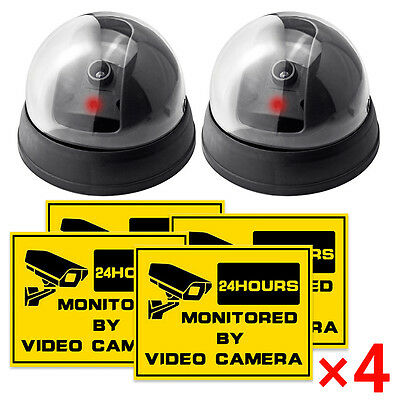 2 pcs Fake Surveillance Flash LED Ligh CCTV Security Dummy Dome Camera +Stickers