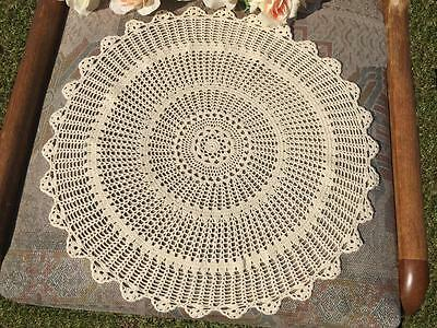 Vintage Beige Fine Cotton Yarn Hand Crochet Lace Doily/Table Mat Round 38cm