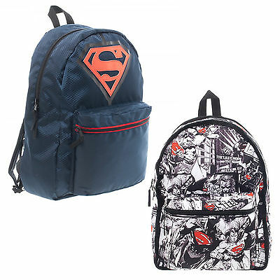 Official DC Comics Superman Reversible Backpack Comic Book Print Logo Backpack
