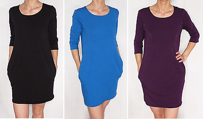 Slimming Nursing Pregnancy Dress Tunic Comfortable Zippers 3/4 Sleeve Cotton