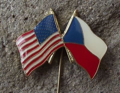Czechoslovakian USA Flag Crossed American Stars Stripes Friendship Pin Badge