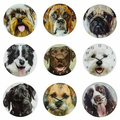 Dog Breed Glass Clock-Westie Yorkie Border Terrier Collie Boxer Spaniel Labs Pug