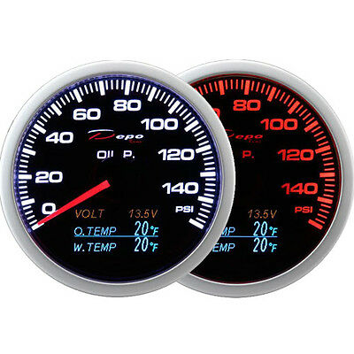 Depo 60mm Smoked Oil Pressure Volt Oil Temp&Water Temp Gauge LED 4 in 1 PSI & F