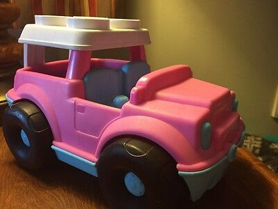 Fisher Price Little People Mattel 2010 Block Pink Jeep Car Vehicle
