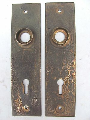 2 Small Highly Decorative Antique Steel Eastlake Backplates