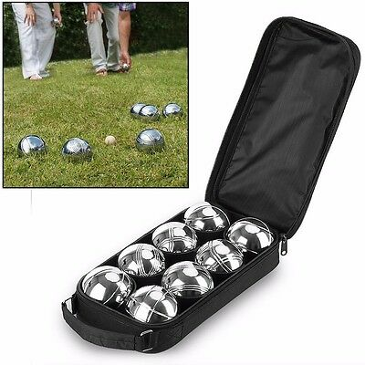 8 Ball Steel French Boules Set Garden Beach Park Game+Case+1 Wooden Jack+String