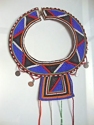 AFRICAN ZULU BEADED TRIBAL CEREMONIAL NECKLACE SHELLS, METAL, Leather Back SALE!