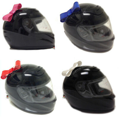 Pink White Red or Blue Stick On Motorcycle Bike Bicycle Biker Helmet Bow