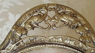 Antique 1920's Gilt Vanity Tray Mirror w/ Peacock Handles & garland swags