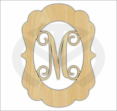 Custom Wood Scroll Plaque with Initial Laser Cut, Various Sizes, Unfinished
