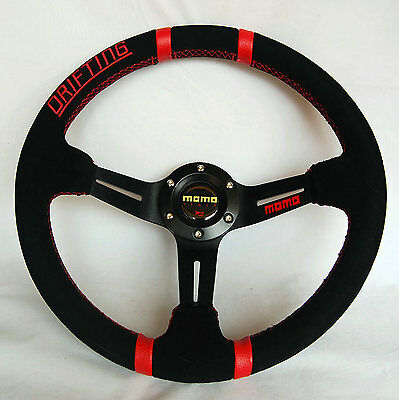350mm Suede Leather Deep Dish Drifting Steering Wheel MOMO OMP Rally Red Letter