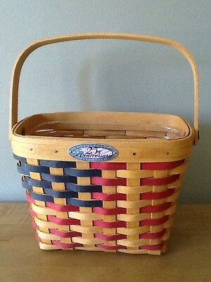 Longaberger 1998 25th Anniversary Flag Basket & Protector