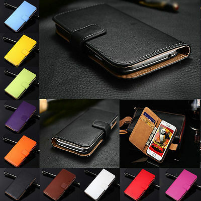 Genuine Leather Flip Wallet Card Holder Case Cover For Samsung Galaxy Series