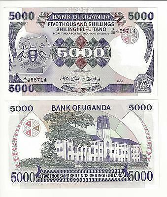 Uganda 5000 Shillings,   1986 One Year Type Last Of The Large Type Nice Unc
