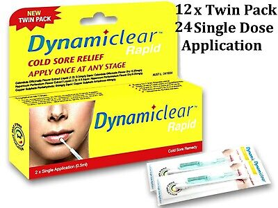 12 x Twin Pack DYNAMICLEAR RAPID * 24 Single Dose Application * suits cold sore