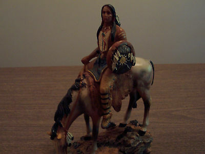native american indian warrior chief on horse figurine
