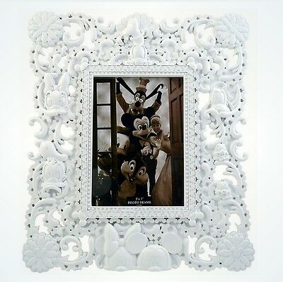 Disney Parks Mickey and Friends Sculptured  White Photo Picture Frame 5x7