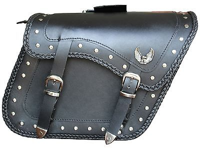 20082 Larger Eagle Zip-Off Eagle Motorcycle Leather Saddle Bag
