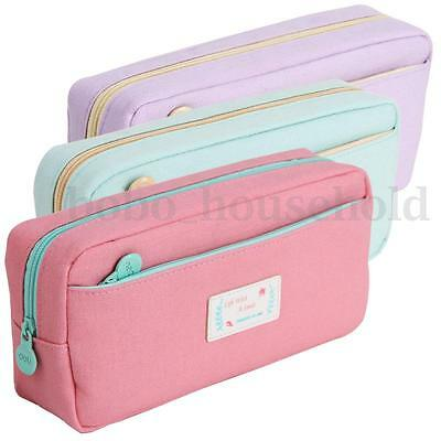 Large Stationery Pencil Pen Case Zipper Make Up Cosmetic Brush Bag Storage Pouch