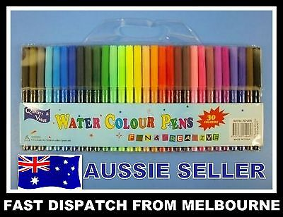 NEW 30 x Water Coloured Colour Pens Textas Non Toxic Texta Kids AUSSIE SELLER