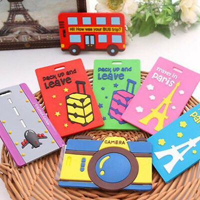 1PC Cute Cartoon Silicone Luggage Tags ID Name Tag Holder Travel Suitcase Label