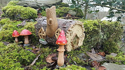 Solar Powered Garden Fairy House log colour changing with pixie Mushrooms