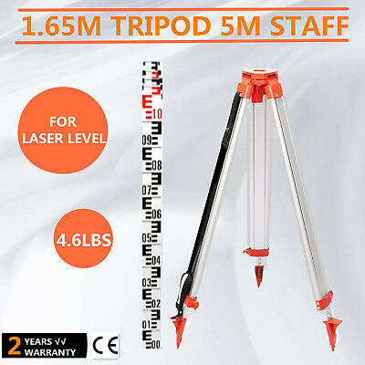 Tripod +5M Staff Laser Level Measuring Rotating Building Aluminum 5 Sections