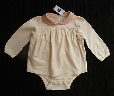Baby clothes GIRL 12-18m GAP New!soft cotton cream/pink dress-style top/bodysuit
