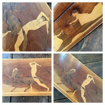 Sorrento Ware Inlaid Antique Cedar Wood Box With Classical Scenes