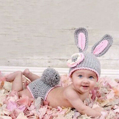 Newborn Baby Girl Boy Rabbit Costume Photo Photography Props Hats Outfit (294)