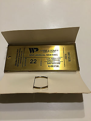 Water & Power Credit Union 50th Annual Meeting metal Ticket 1986