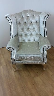 Crushed Velvet Queen Anne style chair