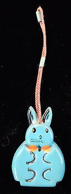 """3"""" Vintage Child's Coin Purse Molded Plastic Turquoise Bunny"""