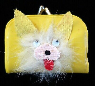 "2"" Vintage Child's Coin Purse w a Googlie Eyed Dog w Furry Whiskers."