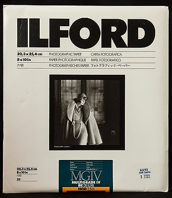 "Ilford Multigrade IV RC Deluxe Black & White Paper 8x10"" Satin~25 Sheets 1772054"