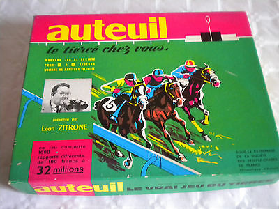 Vintage board game Auteuil Horse racing game Leon Zitrone french boxed 1960s