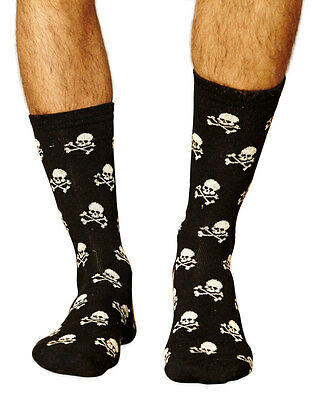 Pirate Men's Super-Soft Bamboo Crew Socks In Black   Exclusive By Braintree
