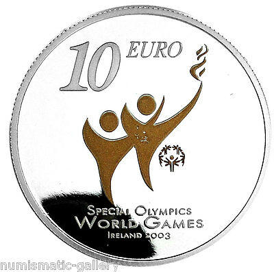 IRELAND 10 EURO 2003 Silver PF = SPECIAL OLYMPICS WORLD GAMES =