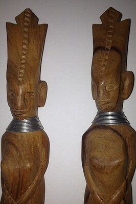 AFRICAN HAND-CARVED WOOD FORK & SPOON Vintage Primitive Kenya Tribe Female Form