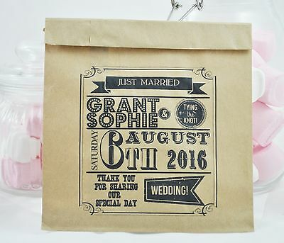 100 x Personalised Wedding Favour Bags - Vintage Paper Sweet Bags Candy Cart