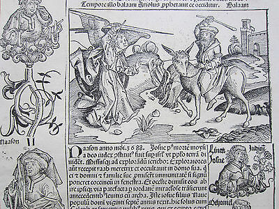 Incunable Leaf Schedel Liber Chronicorum Moses Commandments Red Sea - 1493