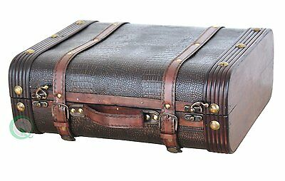 Vintiquewise Decorative Leather Suitcase, Wood, Antique Cherry